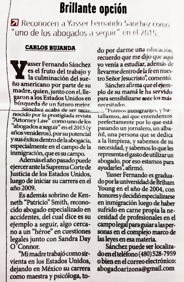 Prensa Hispana for Yasser Sanchez, Esq.